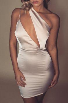 64cdf80de7f5 Aleena Asymmetrical Satin Mini Dress - Nude - MESHKI Satin Mini Dress,  Formal Dresses Online