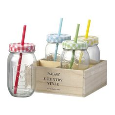 Parlane Country Style Drinks Jars (Set of 4) (79 BRL) ❤ liked on Polyvore featuring home, kitchen & dining, food storage containers, kitchen, filler, food, decor, food jar, colored jars and fruit jar