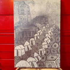 Drawing and the white carved away for the Ann Arbor Art Festival 2016 poster featuring petosky stones, the UofM bell tower, the Hill Auditorium and the Racker Center (graduate art building. Festival 2016, Art Festival, Petoskey Stone, Ann Arbor, Auditorium, Modern Wall Art, Art Fair, Street Art, Original Art