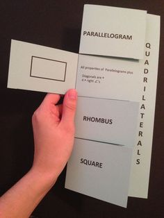 """Quadrilateral Foldable with Cheat Sheet. coordinate with """"Build a Solid"""" Observation Walk. Geometry Lessons, Teaching Geometry, Math Lessons, Teaching Math, Teaching Ideas, Math Notebooks, Interactive Notebooks, Math Resources, Math Activities"""