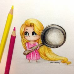 Original Drawing (by vivianhitsugaya - me) Baby Rapunzel :) (Cool Paintings Disney)