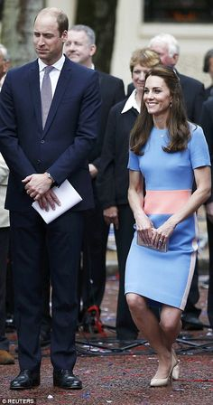 Respectful: The Duchess of Cambridge stood with Prince William and curtseyed as the Queen arrived