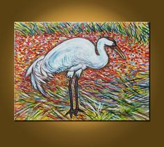 Art Painting Nature Bird Canvas  Whooping Crane  by ElizabethGraf