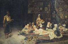 José Gallegos 1859-1917 SPANISH IN THE HAREM signed and dated JGallegos / Roma 1884 lower right oil on canvas  340 by 510cm., 133¾ by 200¾in. (unframed and unstretched)