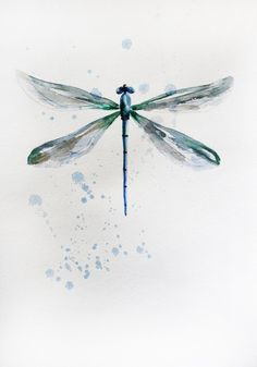 ORIGINAL watercolor DRAGONFLY painting watercolor original for home decor for…