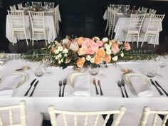 long and low table arrangement blush pinks and pops of orange with native foliage to adorn the bridal table in Manly, Milestone Events by Erichsen Botanica, Sydney Wedding Florist Bridal Table, Sydney Wedding, Low Tables, Table Arrangements, Table Flowers, Blush Pink, Wedding Flowers, Events, Table Decorations