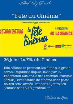 26 Juin : La fête du Cinema #Histoire #Quotidienne #Daily #Story #School #Learn #Absolutely #French