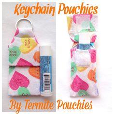 Valentine Print Keychain Pouchie for Chapstick by TermitePouchies