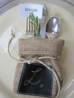 OK...we love, and will be doing this!! Cute burlap silverware pouch, chalkboard, drawstring, with herbs.