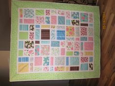 Idea for Quilt for old kids clothes, or little girls quilt.
