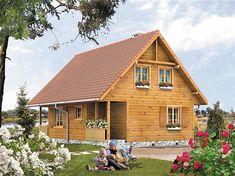 Projekt domu z poddaszem Jaśmin 2 dr-S o pow. 96,38 m2 z dachem dwuspadowym, z werandą, z wejściem od południa, sprawdź!