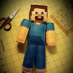 Steve's ready for his new home! A custom Minecraft plush!  Check out my shop, www.plushiesbyrenee.etsy.com