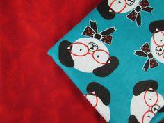 Baby Blanket Handmade Dog with Glasses and Bowtie Print Blanket Baby Shower Gift Stroller Blanket