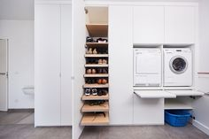 Slide-out folding shelf Pantry Laundry Room, Small Laundry Rooms, Laundry Room Storage, Laundry In Bathroom, Storage Room, Storage Spaces, Scullery Ideas, Laundry Room Inspiration, Kitchen Dinning