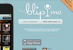 iphone blip.me mobile app landing page website layout whitespace