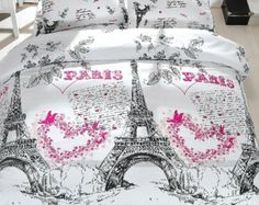 100% Cotton 4pcs PARIS Soft Eiffel Tower Double Size Quilt Duvet Cover Set Bedding Linens
