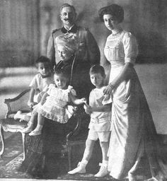 Emperor Wilhelm II, Empress Auguste Viktoria, their daughter Viktoria Luise, and their grandchildren Louis Ferdinand, Hubertus, and Wilhelm in 1911.