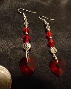 Outlander Inspired Earrings Red Heart by TheMagpizeNest on Etsy