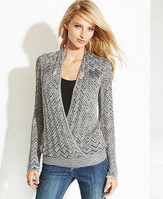 INC International Concepts Layered Metallic Zigzag-Knit Sweater - Sweaters - Women - Macy's