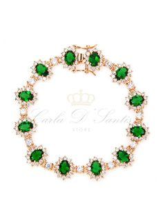 $298 Pulseira Kate Esmeralda Ouro semi joia