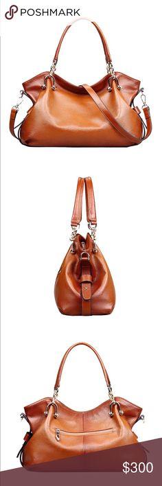 Brown Leather Tote Genuine Leather handbag                                              L, 38 cm 14 cm W, 23cm H 19cm drop leather handles 95-115cm long strap Bags Totes