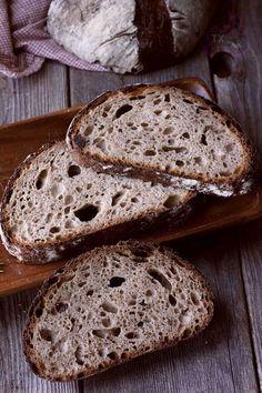 Rye Spelt Sourdough - with rye flakes Spelt Recipes, Rye Bread Recipes, Sourdough Recipes, Whole Food Recipes, No Knead Rye Bread Recipe, Cooking Bread, Bread Baking, Sourdough Bread Starter, Breads
