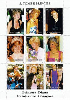 Princess Diana Postal Commemorative Sheet Issued By Sao Tome And Principe, Diana - Princess Of Wales 1961 - 1997.