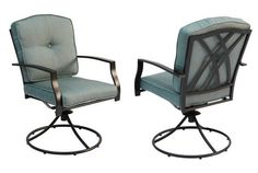 (From Lowe's) Garden Treasures Set of 2 Cascade Creek Black Steel Swivel Patio Dining Chairs with Solid Blue Cushions