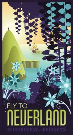 retro Mary Blair inspired Neverland travel poster by Mr-Bluebird on deviantart Retro Disney, Art Disney, Disney Kunst, Disney Love, Disney Magic, Disney Pixar, Disney Travel, Disney Villains, Disney Cruise