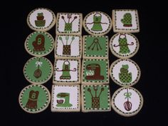 Kitchen Shower Cookies - Sugar cookies.  I saw a design like this on Etsy.