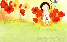 Kim Jong Bok Illustrations(Vol.03) - Cartoon Cute Fairy Girl  - Art Illustration : Cute little girl with beautiful flowers 8