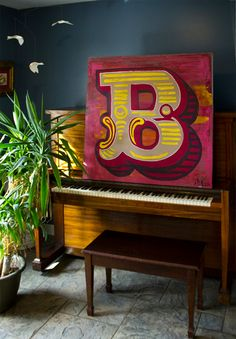 """Any purchase of a Worn Gothic package or single before May 1, 2013 automatically enters the buyer into a drawing to win this painting of a """"B"""" from the Dusty Circus typeface! #typography #fonts"""
