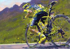 Rob Ijbema. < Rafal Majka. Tour de France 2015. 11^Tappa > Acrilico su tela, 2015