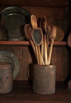 wooden spoons, pewter