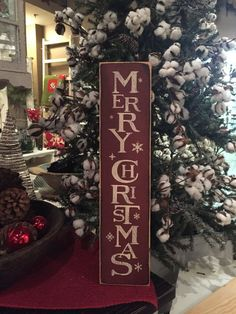 vintage Merry Christmas vertical wood sign, rustic red Christmas sign, Christmas decor, hand painted 5 x 24 wood sign,
