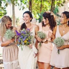 Mismatched maids in nude & blush, a laid back boho bride, & a historic SD venue that used to be a nudist colony! (Amy Lynn Photography)