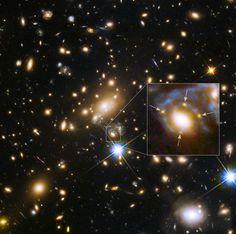 Astronomers Down Under have captured the moment a far off star exploded - not once but four times. In doing so, they confirmed an effect predicted by Albert Einstein's general theory of relativity 100 years ago. The supernova was directly behind a cluster of huge galaxies whose enormous mass warped space-time, creating a cosmic magnifying glass. - Image credit: NASA, ESA, S. Rodney et al