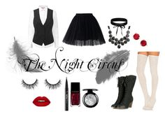 """""""The Night Circus"""" by xbethanyxanne on Polyvore featuring Free People, Chicwish, Torrid, Boohoo, Kate Spade, Kat Von D, Illamasqua, vintage and blackandwhite"""