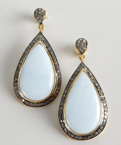 Amrapali blue opal and diamond teardrop earrings