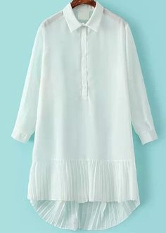 Shop White Lapel Pleated Dip Hem Blouse online. Sheinside offers White Lapel Pleated Dip Hem Blouse & more to fit your fashionable needs. Free Shipping Worldwide!