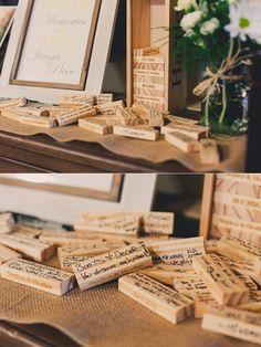 Unique guest book alternative: engraved Jenga pieces to sign! Jenga Wedding Guest Book, Jenga Guest Book, Wedding Book, Our Wedding, Dream Wedding, Wedding Venues, Unique Bridesmaid Dresses, Phoenix Wedding Photographer, Guest Book Alternatives