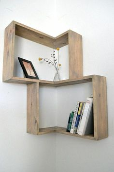 Distressed Corner Book Shelf