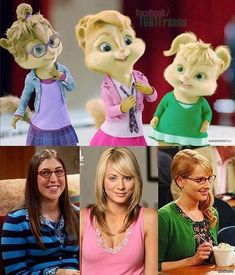 Alvin and the Chipmunks, Chipettes meet the girls from Big Bang Theory. Amy Farrah Fowler, Penny, and Bernadette The Big Bang Theroy, Funny Captions, Funny Memes, Funny Quotes, The Big Theory, Big Bang Theory Funny, Alvin And The Chipmunks, Kevin Hart, Everything Funny