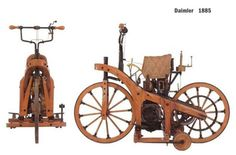 "First motorcycle called ""Reitwagen"" by Gottlieb Daimler and Wilhelm Maybach (1885)"