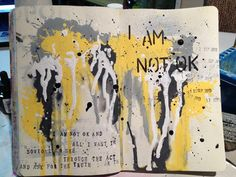 art journal - mellow yellow, black, grey, white - gorgeous color combo! Melita Bloomer - Not Ok at artful fancies