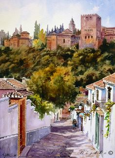 Watercolor Architecture, Watercolor Landscape, Landscape Paintings, Watercolor Paintings, Watercolors, Art Aquarelle, Granada Spain, Islamic Architecture, Urban Sketching