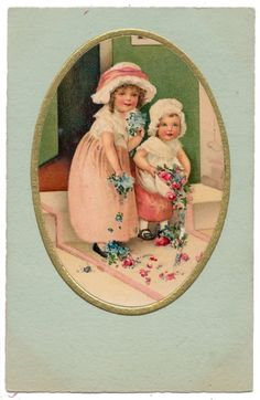 Euro Ellen Clapsaddle Green Postcard - Two Girls with Flowers
