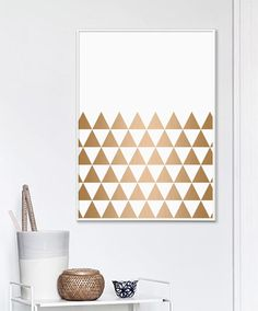 Copper Prints Triangle Art Copper and White by AngelinasArtShop