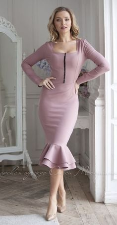 Ash rose dress, mermaid silhouette dress by Olesya Masyutina. elegant feminine dress with beautiful double flounce, dense viscose jersey midi dress long sleeves. 900 models of women knitted and fabric dresses and suits for every day, evening and wedding