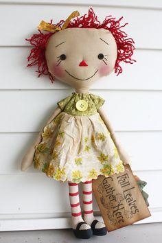 Fall Leaves Annabelle Primitive Raggedy Ann by HeartstringAnnie, $35.00